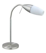 Eglo 20137A - 1x9W Table Lamp w/ matte Nickel Finish & White Glass