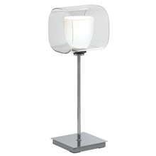 Eglo 90193A - 1x40W Table Lamp w/ Chrome Finish& White & Clear Glass