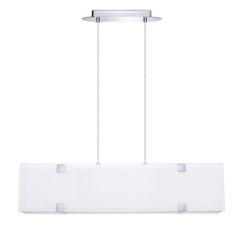 Flushing Lighting in Flushing, New York, United States, Eglo 200269A, 5x60W Pendant w/ Chrome Finish & Striped Satinated Glass, Alea