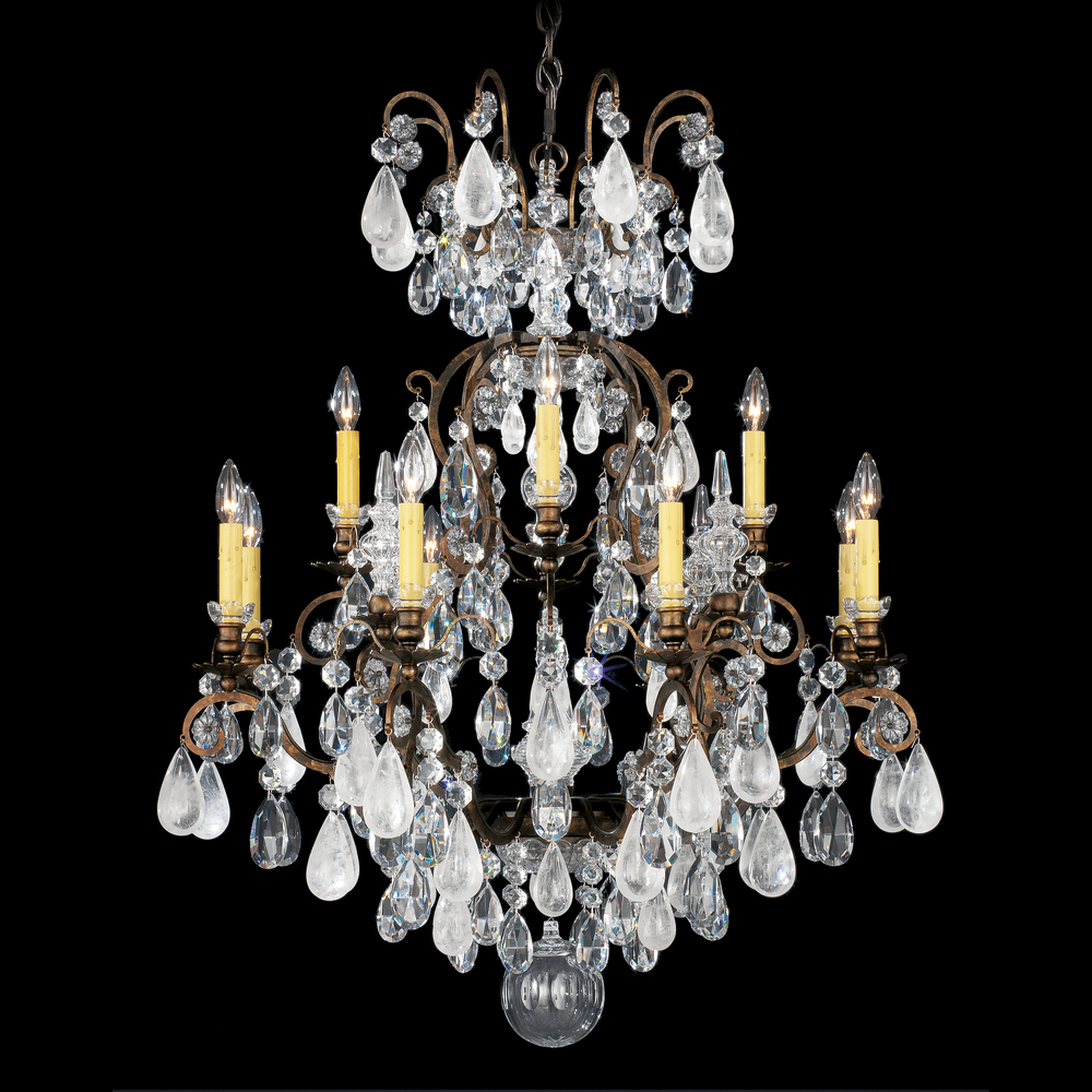 Renaissance Rock Crystal 13 Light 110V Chandelier In Antique Silver With  Amethyst And Black Diamond - Renaissance Rock Crystal 13 Light 110V Chandelier In Antique Silver