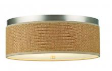 Forecast F615136NV - Two-light Ceiling in Satin Nickel finish with natural grass cloth shade with etched glass diffuser