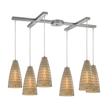 ELK Lighting 10249/6 - Mickley 6 Light Pendant In Satin Nickel And Ambe